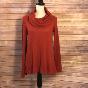 Anthropologie | red cowl neck thermal